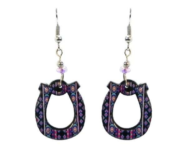 Tribal pattern horseshoe acrylic dangle earrings with beaded metal hooks in blue, navy blue, turquoise, and hot pink color combination.