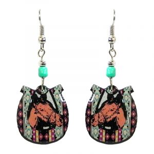 Tribal pattern horseshoe with horse acrylic dangle earrings with beaded metal hooks in mint green, burgundy, brown, and black color combination.