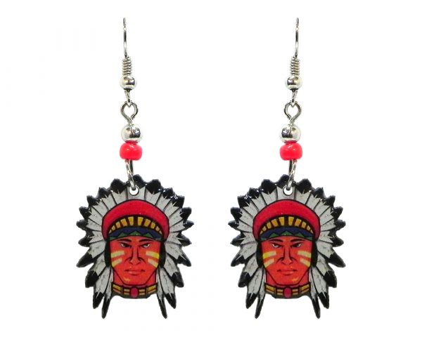 Native American indian face acrylic dangle earrings with beaded metal hooks in red, tan, yellow, blue, green, black, and white color combination.