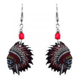 Native American Indian face acrylic dangle earrings with beaded metal hooks in red, white, black, yellow, and turquoise color combination.