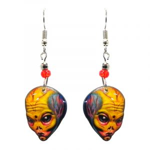 Big brained alien face acrylic dangle earrings with beaded metal hooks in yellow, orange, gray, and black color combination.