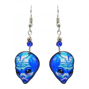 Big brained alien face acrylic dangle earrings with beaded metal hooks in light blue, turquoise, blue, and black color combination.
