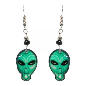 Alien face acrylic dangle earrings with beaded metal hooks in teal green, mint, and black color combination.