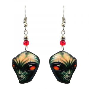 Reptilian alien face acrylic dangle earrings with beaded metal hooks in olive green, beige, orange, black, and red color combination.