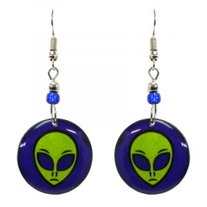 Round-shaped alien face acrylic dangle earrings with beaded metal hooks in indigo, blue, and lime green color combination.