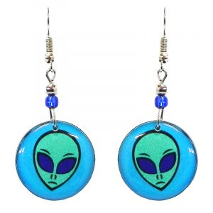 Round-shaped alien face acrylic dangle earrings with beaded metal hooks in aqua, turquoise, and blue color combination.