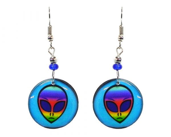 Round-shaped rainbow alien face acrylic dangle earrings with beaded metal hooks in turquoise blue and multicolored color combination.