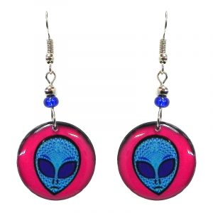 Round-shaped psychedelic alien face acrylic dangle earrings with beaded metal hooks in hot pink, light blue, and blue color combination.