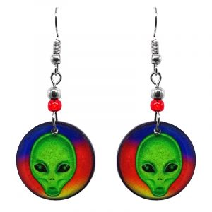 Round-shaped rainbow alien face acrylic dangle earrings with beaded metal hooks n lime green and multicolored color combination.