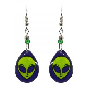 Teardrop-shaped alien face acrylic dangle earrings with beaded metal hooks in indigo, blue, and lime green color combination.