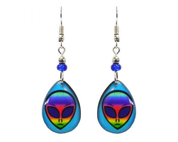Teardrop-shaped rainbow alien face acrylic dangle earrings with beaded metal hooks in turquoise blue and multicolored color combination.
