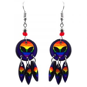 Round-shaped rainbow alien face acrylic dangle earrings with long matching dangles and beaded metal hooks in indigo and multicolored color combination.