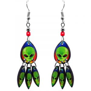 Teardrop-shaped rainbow alien face acrylic dangle earrings with long matching dangles and beaded metal hooks in lime green and multicolored color combination.