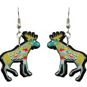 Tribal pattern moose acrylic dangle earrings with beaded metal hooks in beige, white, turquoise, and red color combination.