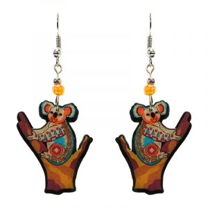 Tribal pattern koala acrylic dangle earrings with beaded metal hooks in tan, orange, turquoise, and red color combination.