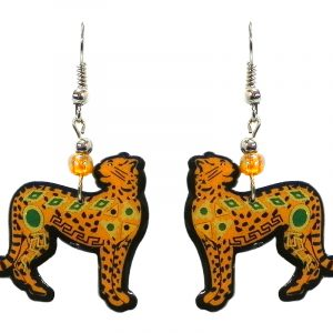 Tribal pattern cheetah acrylic dangle earrings with beaded metal hooks in golden yellow, green, and brown color combination.