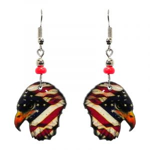 USA flag pattern American bald eagle face acrylic dangle earrings with beaded metal hooks in red, white, and blue color combination.