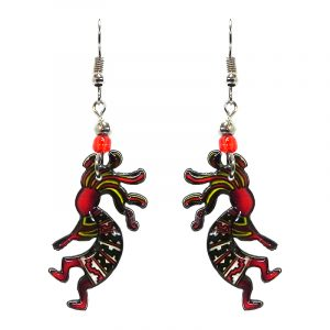 Tribal pattern Kokopelli acrylic dangle earrings with beaded metal hooks in red, green, white, and yellow color combination.