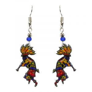 Tribal pattern Kokopelli acrylic dangle earrings with beaded metal hooks in yellow, orange, red, and blue color combination.