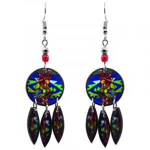 Round-shaped Kokopelli graphic acrylic earrings with long matching dangles and beaded metal hooks in blue, lime green, red, and golden color combination.