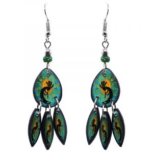 Teardrop-shaped Kokopelli graphic acrylic earrings with long matching dangles and beaded metal hooks in teal green, yellow, and black color combination.