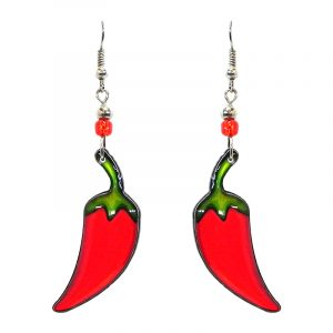 Chili pepper acrylic dangle earrings with beaded metal hooks in red and green color combination.