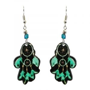 Dream catcher acrylic dangle earrings with beaded metal hooks in black, mint green, and teal color combination.
