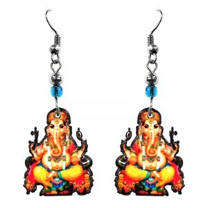 Ganesha elephant acrylic dangle earrings with beaded metal hooks in red, orange, yellow, green, and blue color combination.