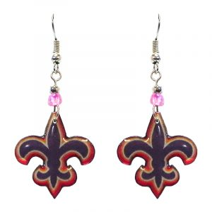 Fleur de Lis symbol acrylic dangle earrings with beaded metal hooks in purple, red, and peach color combination.