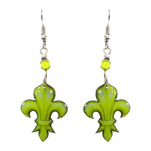 Fleur de Lis symbol acrylic dangle earrings with beaded metal hooks in lime green color combination.
