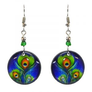 Round-shaped peacock feather pattern graphic acrylic dangle earrings with beaded metal hooks in blue, lime green, and orange color combination.