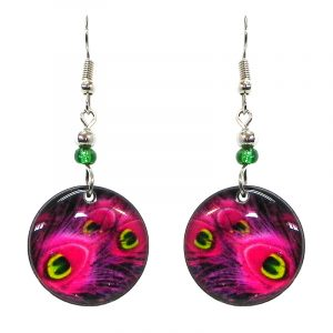 Round-shaped peacock feather pattern graphic acrylic dangle earrings with beaded metal hooks in hot pink, dark pink, yellow, lime green, and black color combination.
