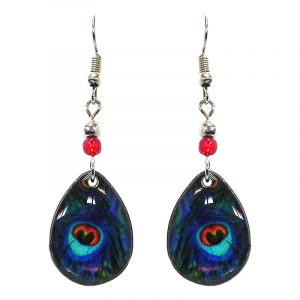 Teardrop-shaped peacock feather pattern graphic acrylic dangle earrings with beaded metal hooks in teal green, turquoise, blue, orange, and black color combination.