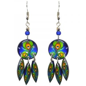 Round-shaped peacock feather pattern graphic acrylic earrings with long matching dangles and beaded metal hooks in blue, lime green, and orange color combination.