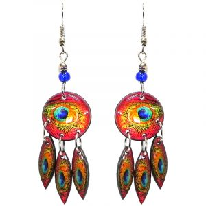 Round-shaped peacock feather pattern graphic acrylic earrings with long matching dangles and beaded metal hooks in salmon pink, orange, turquoise, blue, yellow, and mint green color combination.