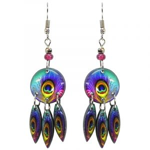 Round-shaped peacock feather pattern graphic acrylic earrings with long matching dangles and beaded metal hooks in purple, turquoise, blue, mint green, orange, and yellow color combination.