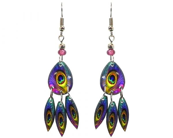 Teardrop-shaped peacock feather pattern graphic acrylic earrings with long matching dangles and beaded metal hooks in purple, turquoise, blue, mint green, orange, and yellow color combination.