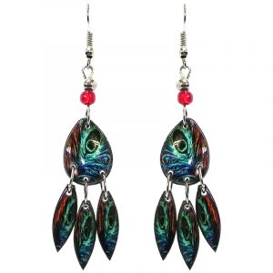 Teardrop-shaped peacock feather pattern graphic acrylic earrings with long matching dangles and beaded metal hooks in teal green, turquoise, blue, orange, and black color combination.