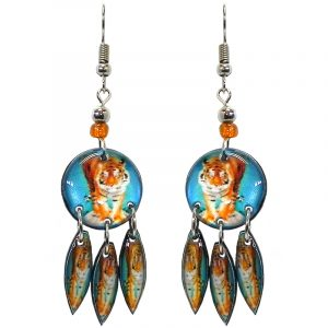 Round-shaped tiger graphic acrylic earrings with long matching dangles and beaded metal hooks in turquoise blue, orange, and white color combination.