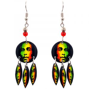 Round-shaped Bob face graphic acrylic earrings with long matching dangles and beaded metal hooks in Rasta colors.
