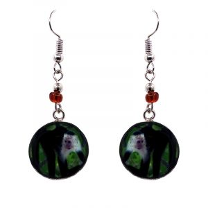 Round-shaped capuchin monkey graphic acrylic dangle earrings with silver metal setting and beaded metal hooks in black and green color combination.