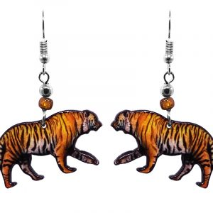 Tiger acrylic dangle earrings with beaded metal hooks in orange, golden and black color combination.