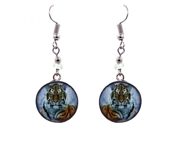 Round-shaped tiger graphic acrylic dangle earrings with silver metal setting and beaded metal hooks in orange, black, and white color combination.