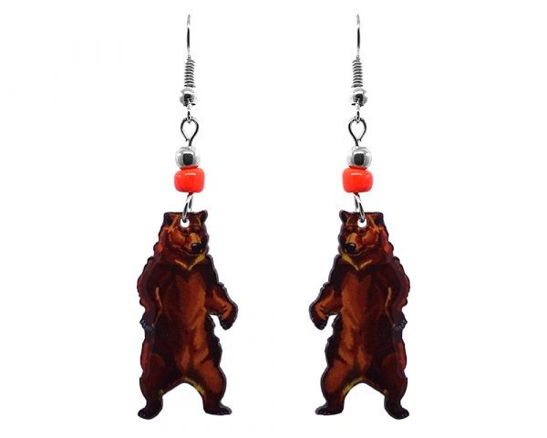 Grizzly bear acrylic dangle earrings with beaded metal hooks in brown color combination.