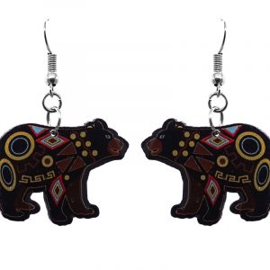 Tribal pattern black bear acrylic dangle earrings with beaded metal hooks.