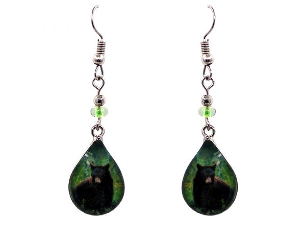 Teardrop-shaped grizzly bear graphic acrylic dangle earrings with silver metal setting and beaded metal hooks in brown and green color combination.