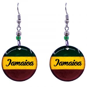 """Round-shaped """"Jamaica"""" graphic acrylic dangle earrings with beaded metal hooks in striped Rasta colors."""