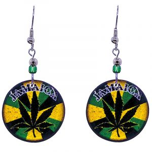 "Round-shaped ""Jamaica"" cannabis pot leaf graphic acrylic dangle earrings with beaded metal hooks in Jamaican flag colors."