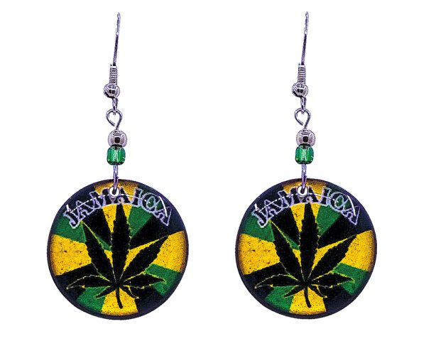 """Round-shaped """"Jamaica"""" cannabis pot leaf graphic acrylic dangle earrings with beaded metal hooks in Jamaican flag colors."""