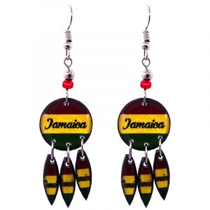 """Round-shaped """"Jamaica"""" graphic acrylic dangle earrings with long matching dangles and beaded metal hooks in striped Rasta colors."""
